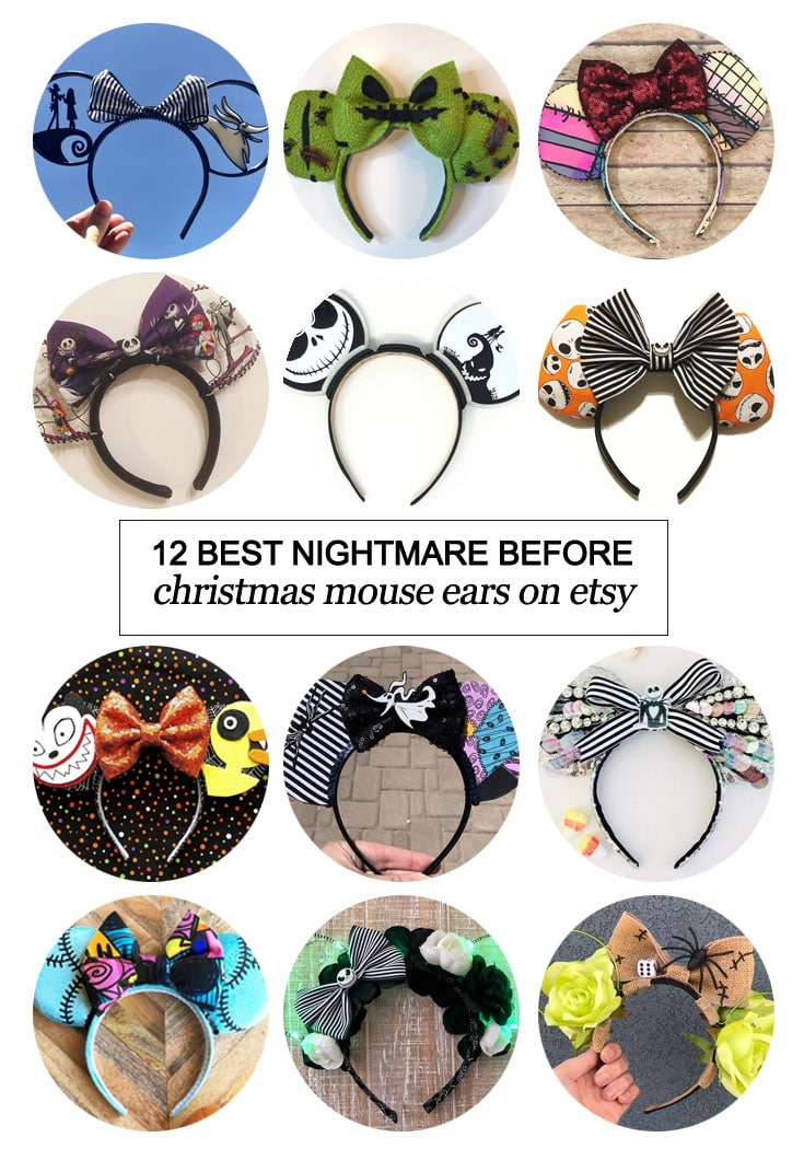 Want to snag some custom Mickey Mouse ears? Texas Mom Blogger, Kiss My Tulle, is sharing the 12 best Nightmare Before Christmas inspired Mouse ears on #etsy!