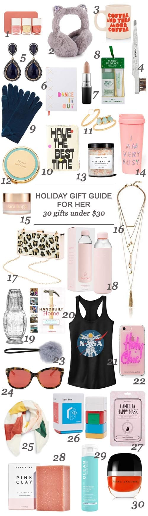 San Antonio lifestyle blogger, Cris Stone, has gathered up a fab collection of gift options for your sister, bestie, niece, mom, and general gal pals - all for under $30!