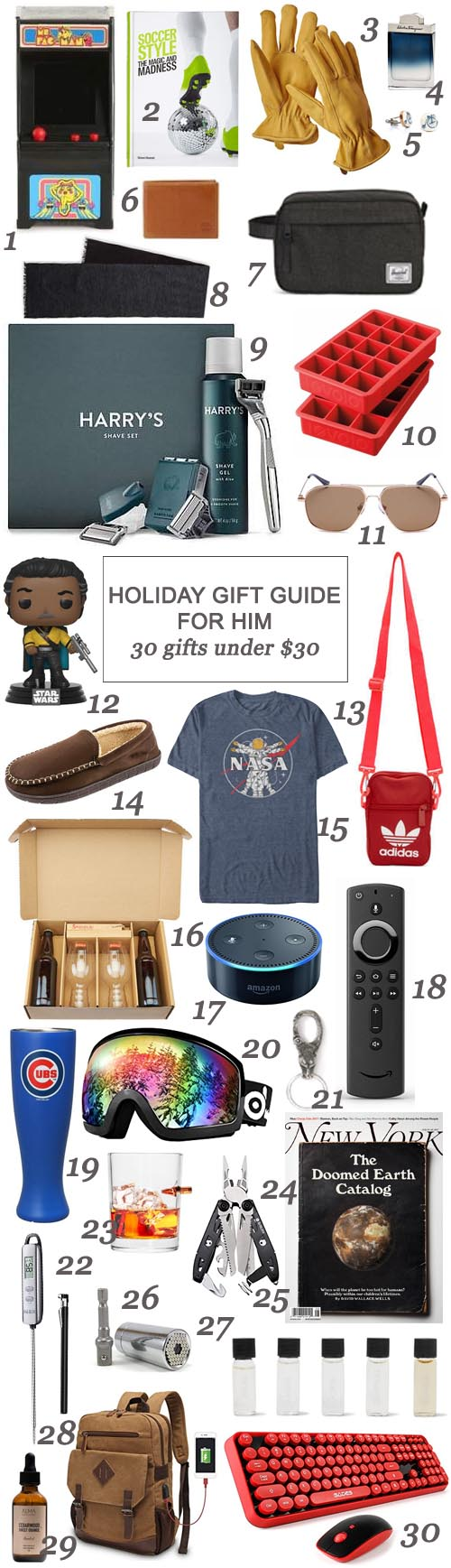 San Antonio lifestyle blogger, Cris Stone, has gathered up a fab collection of gift options for your brother, bestie, nephew, dad, and partner - all for under $30!