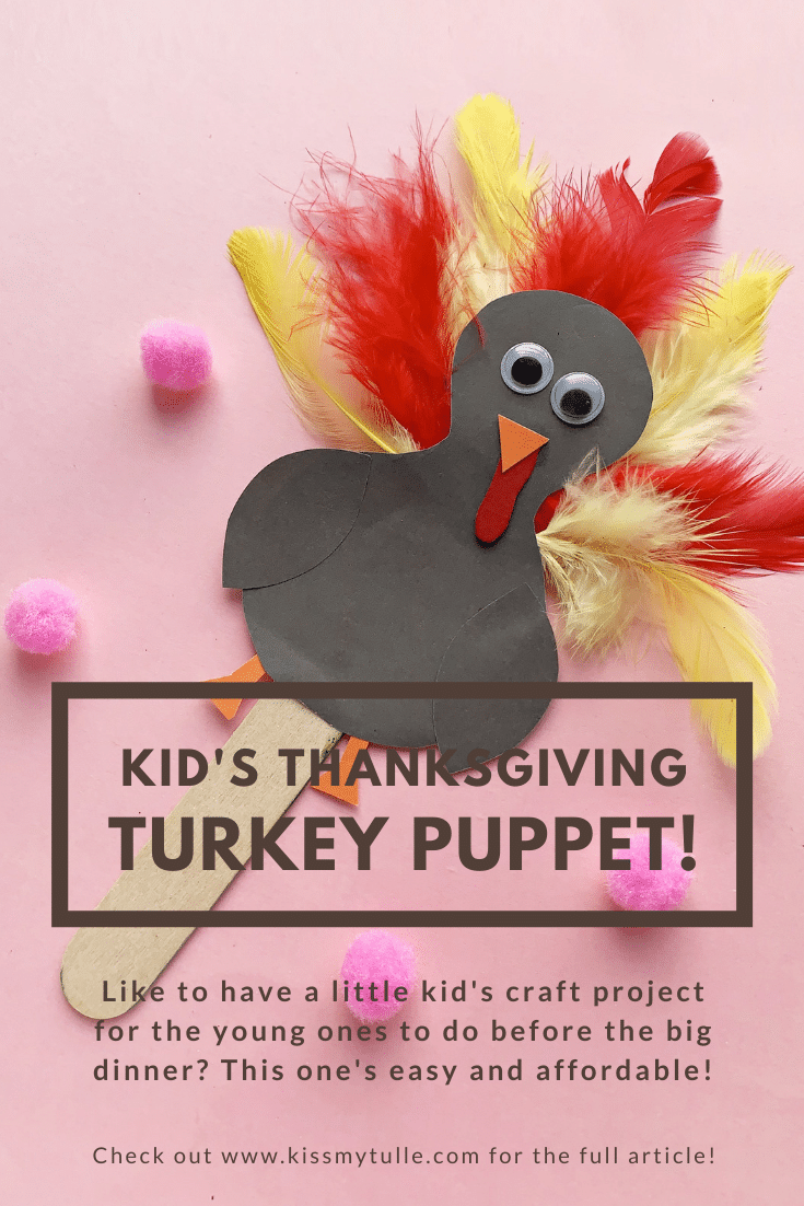 Kid's Thanksgiving turkey puppet DIY  for the young ones to do before the big dinner. It's really easy and needs little to no adult help (The Best Projects, in my opinion).
