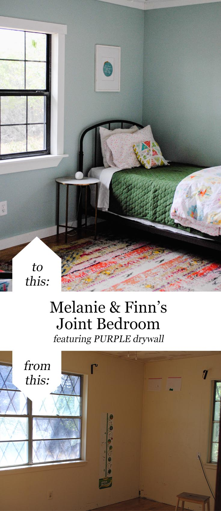 San Antonio lifestyle blogger, Cris Stone, shares before and afters of her children's joint bedroom featuring drywall from #AskForPURPLE! #ad #IC