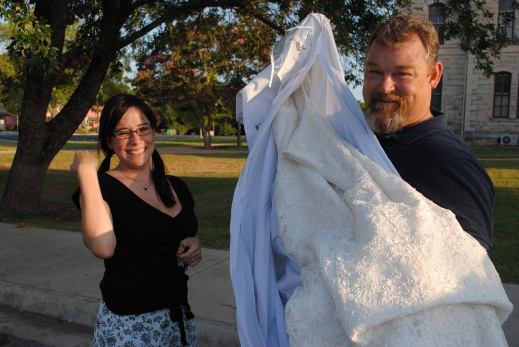 San Antonio lifestyle blogger, Cris Stone, shares the story behind how she found her FREE wedding dress, how she got it, and how it's fitting her right now.
