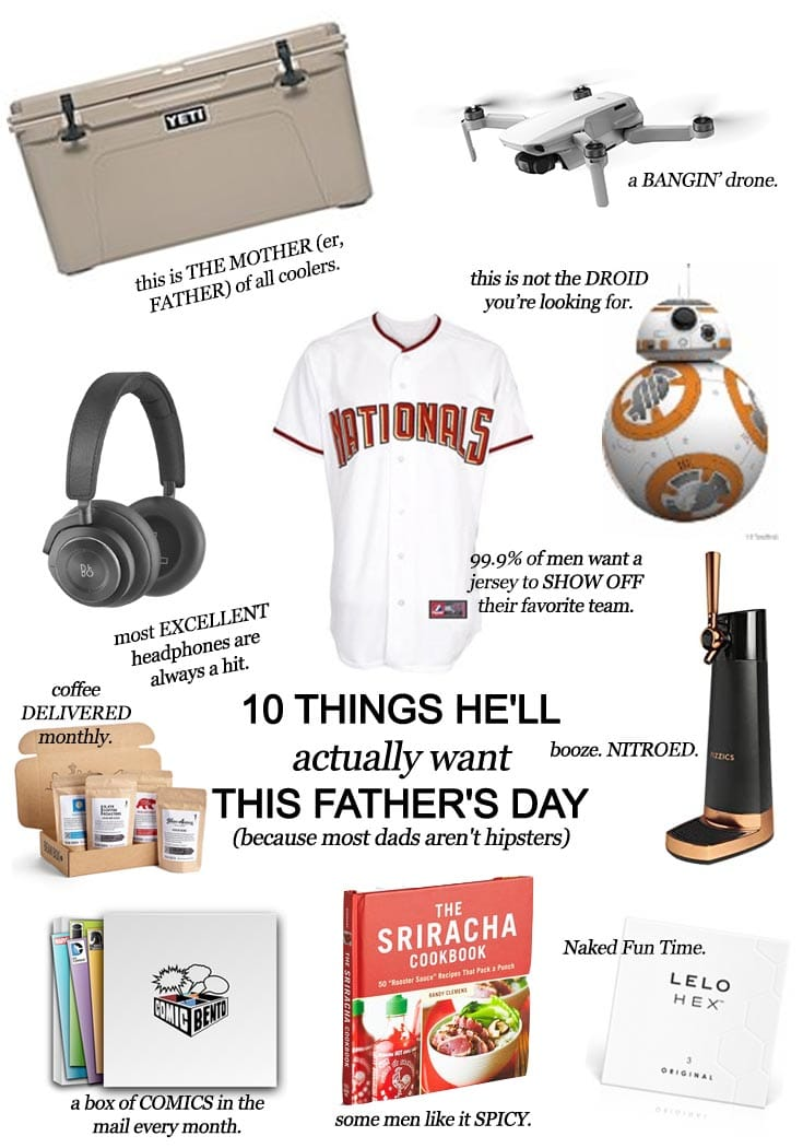 San Antonio lifestyle blogger, Cris Stone, offers her suggestions for 10 things he'll actually want this Father's Day (because most Dads aren't hipsters). Find out more!