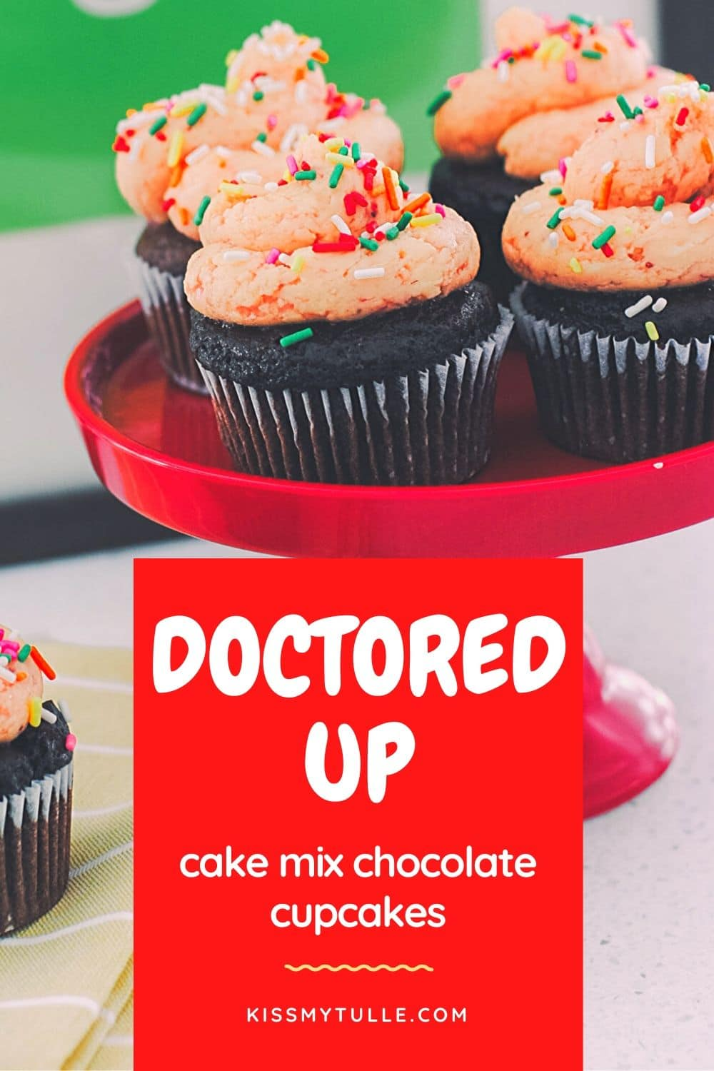 "Can't seem to focus on doing ""real"" baking right now but still want something that makes me feel like you tried? Alaskan lifestyle blogger, Cris Stone, is sharing these doctored up cake mix chocolate cupcakes with homemade strawberry buttercream frosting look and taste gourmet but are wildly easy to make. Find out more!"