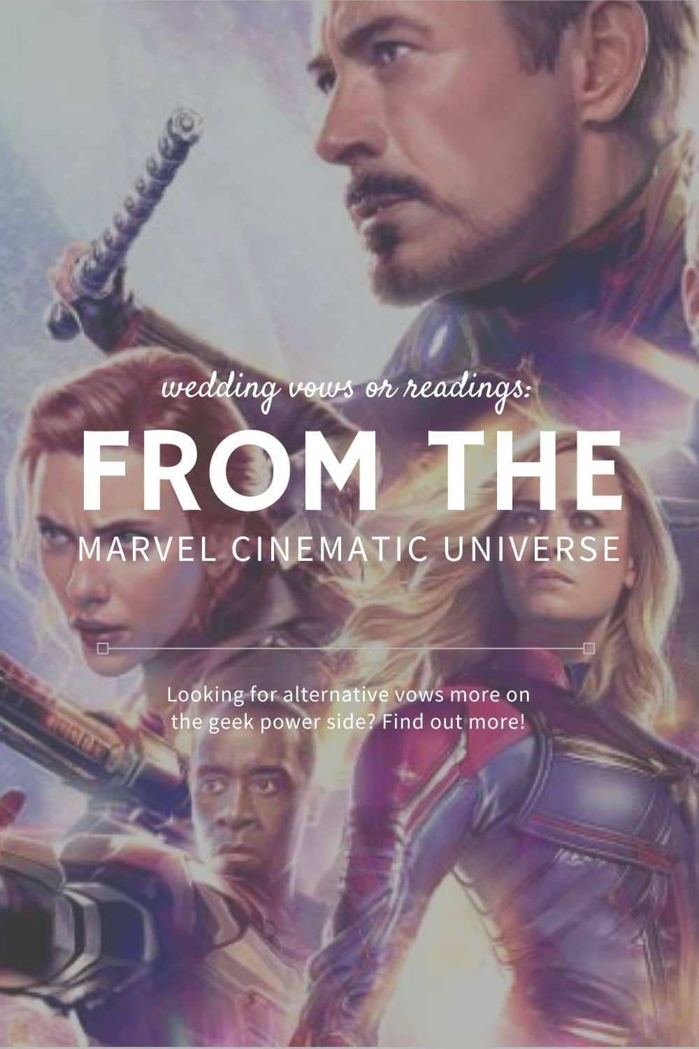 Looking for alternative vows that are more on the geek power side? Well, Alaskan lifestyle blogger, Kiss My Tulle, is sharing alternative wedding vows and readings from the Marvel Cinematic Universe! Find out more!