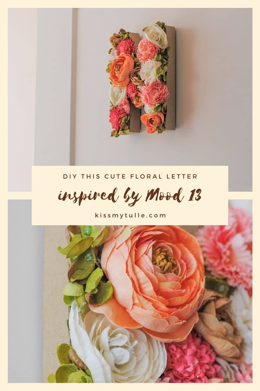 """I made this cute floral """"M"""" after seeing a similar craft in Mood 13, a craft magazine where all the projects are inspired by Taylor Swift. #Mood13 #MyMood13 @Mood13Magazine"""