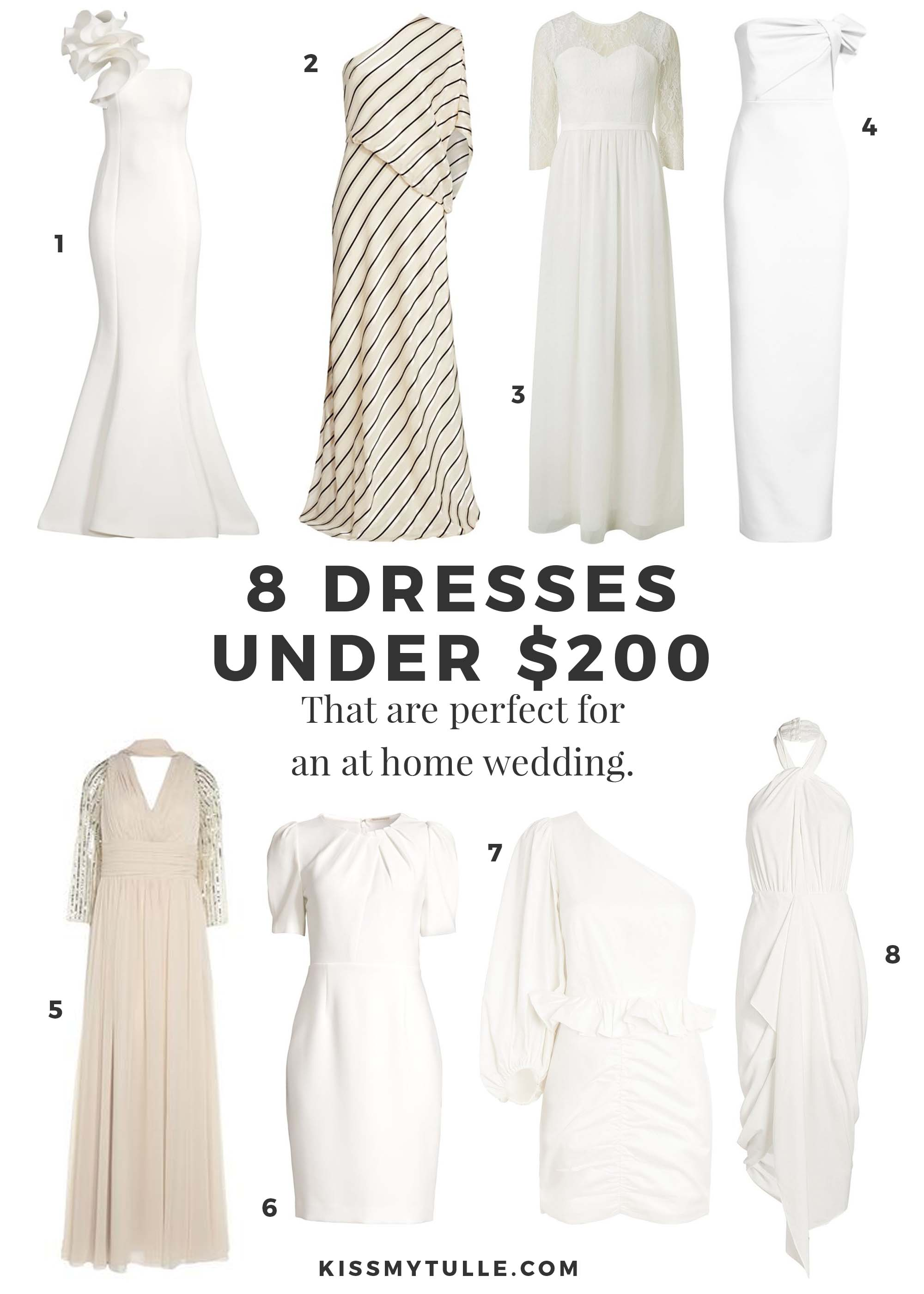 Reworked wedding plans due to the pandemic? Still want to wear a pretty dress? Click through for 8 dresses under $200 perfect for an at home wedding.